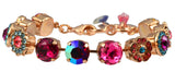 Mariana Sorbet Rose Gold Plated Swarovski Crystal Large Gem Tennis Bracelet with Heart, 8