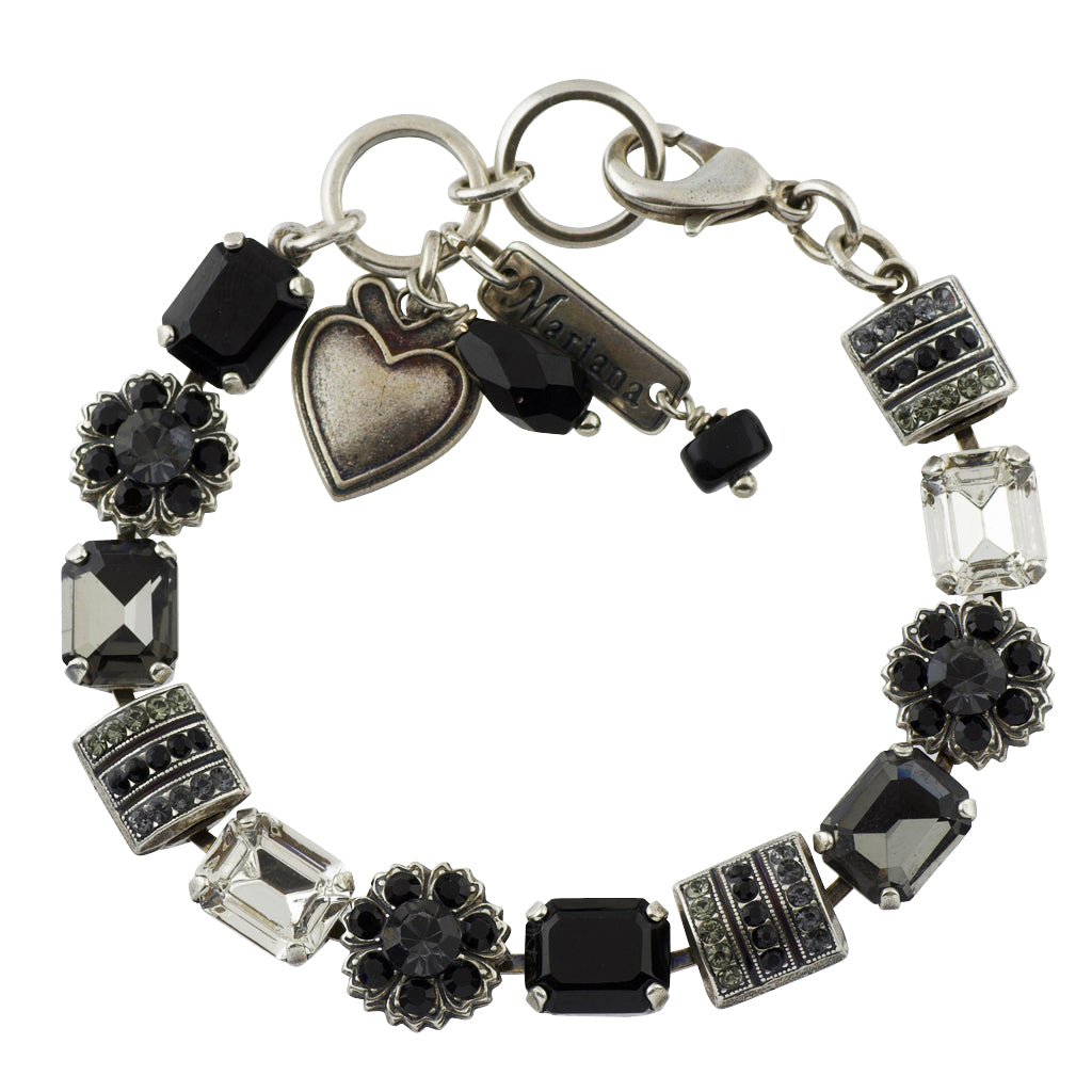 Mariana Black Orchid Silver Plated Flower Crystal Tennis Bracelet , 8""