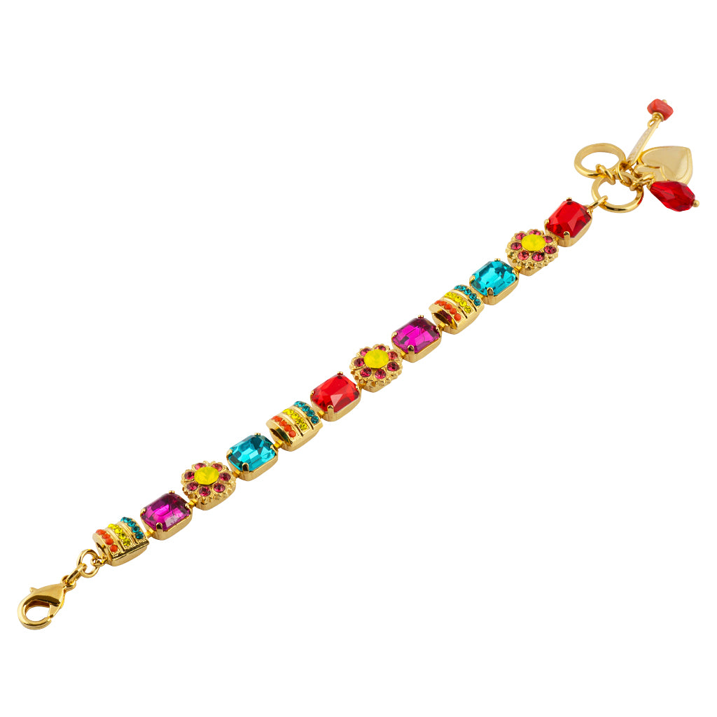 Mariana Poppy Gold Plated Flower Crystal Tennis Bracelet , 8""