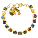 Mariana Jewelry Holiday Lights Rectangle and Circle Tennis Bracelet, Gold Plated, 8