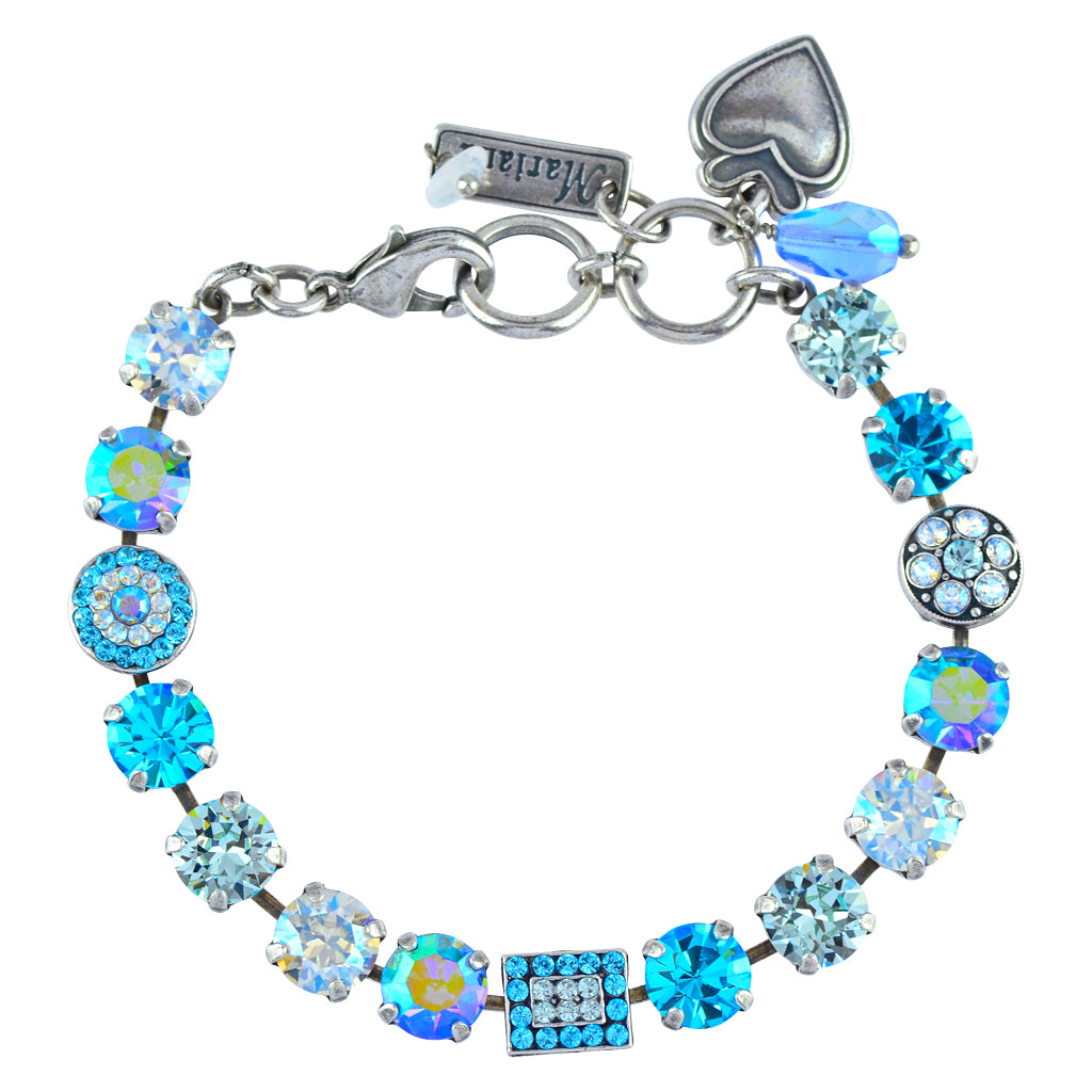 "Mariana Jewelry ""Italian Ice"" Rectangle and Circle Tennis Bracelet, Silver Plated, 8"" 4161 141"