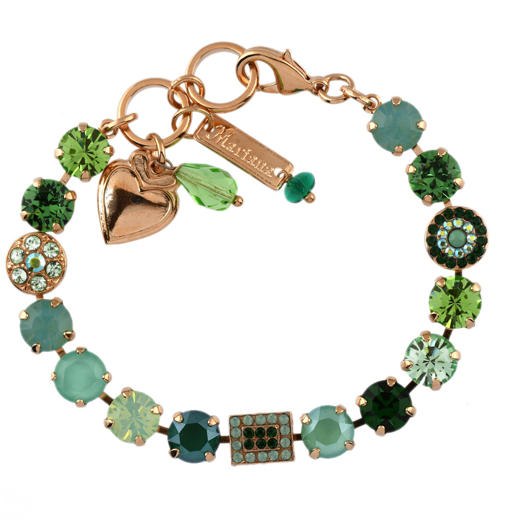 Mariana Jewelry Fern Bracelet, Rose Gold Plated with Swarovski Crystal, Nature Collection MAR-B-4161 2143 RG