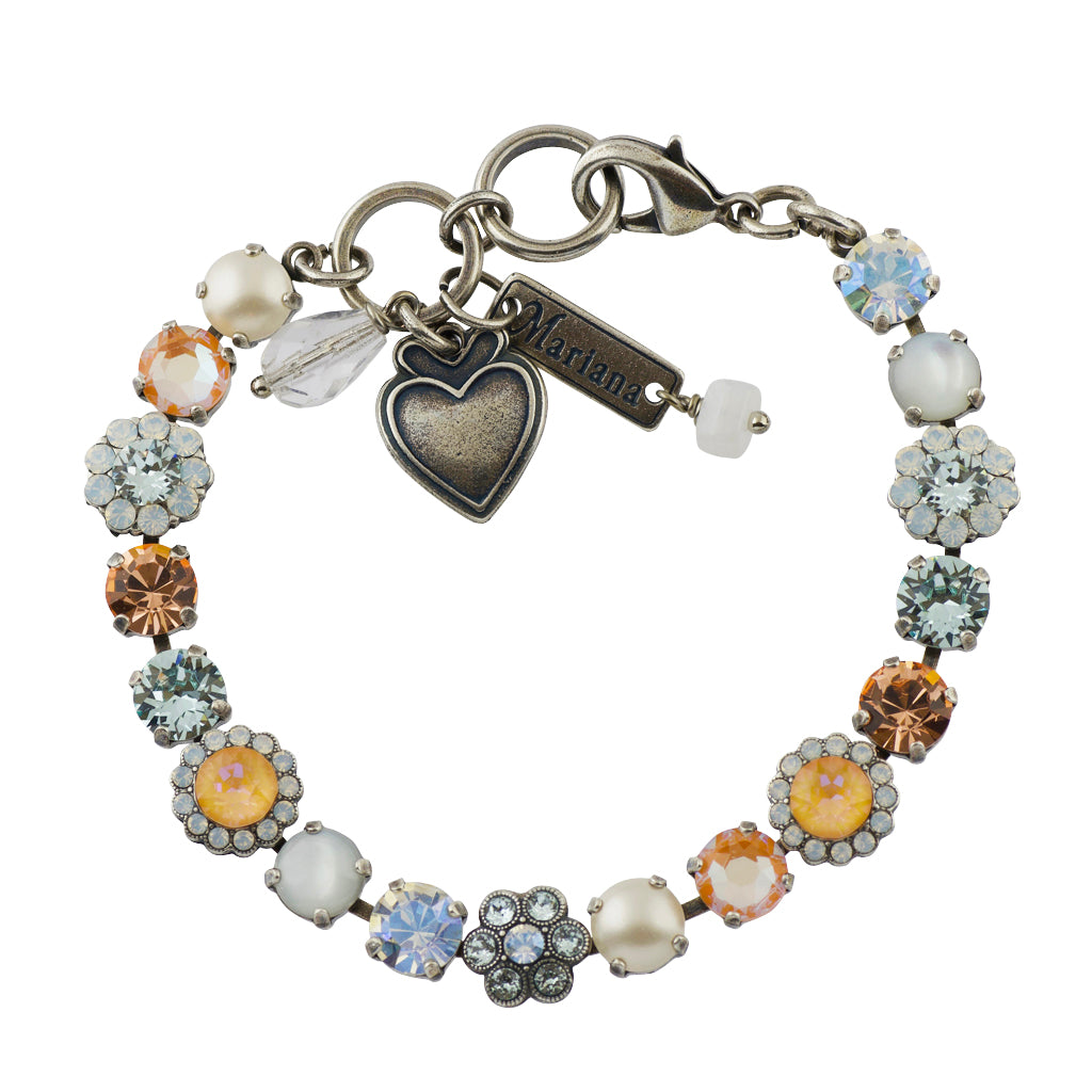 "Mariana Sweet Pea Silver Plated Tennis Bracelet, 8"" 4173_3"