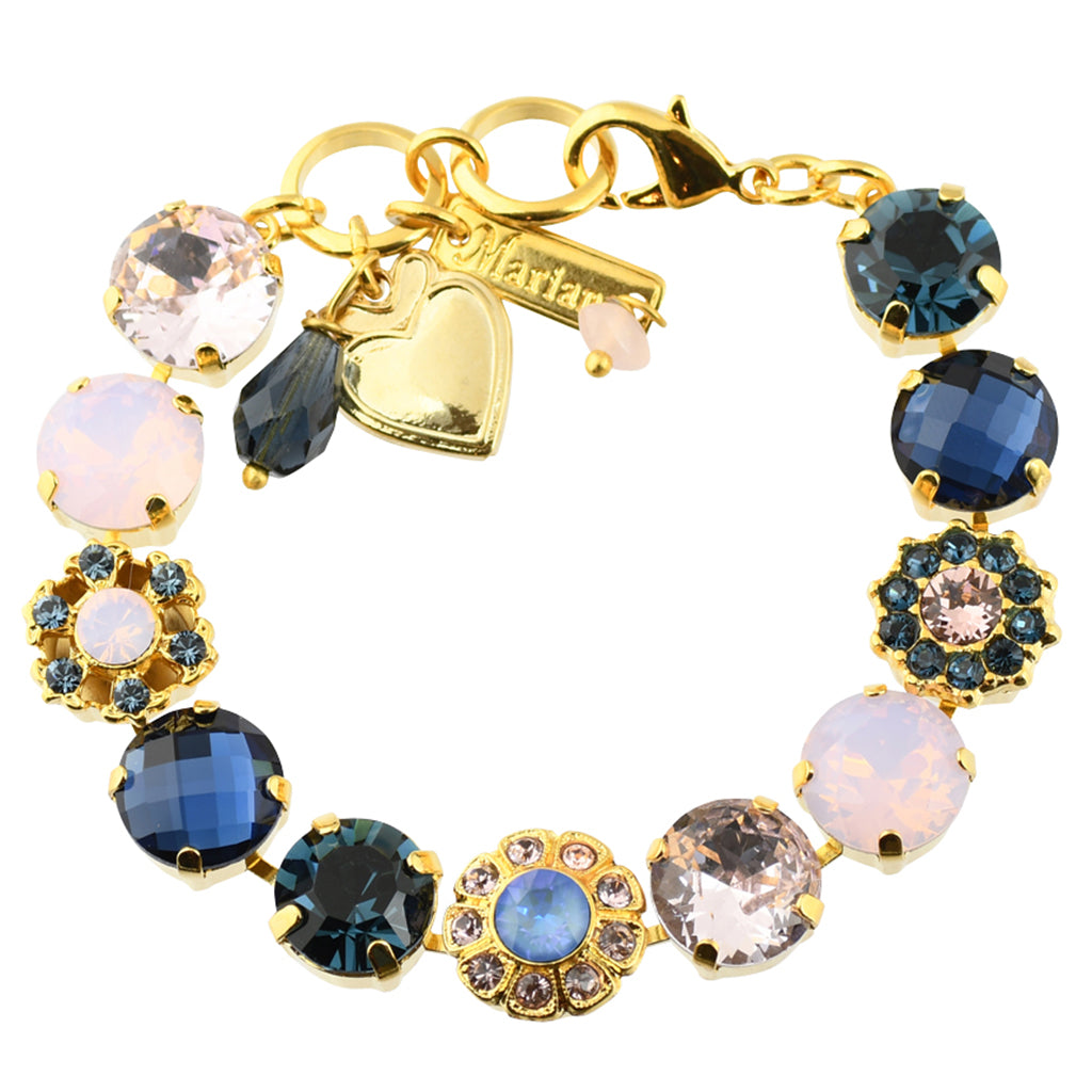 "Mariana ""Blue Morpho"" Gold Plated Snowflake Crystal Tennis Bracelet"