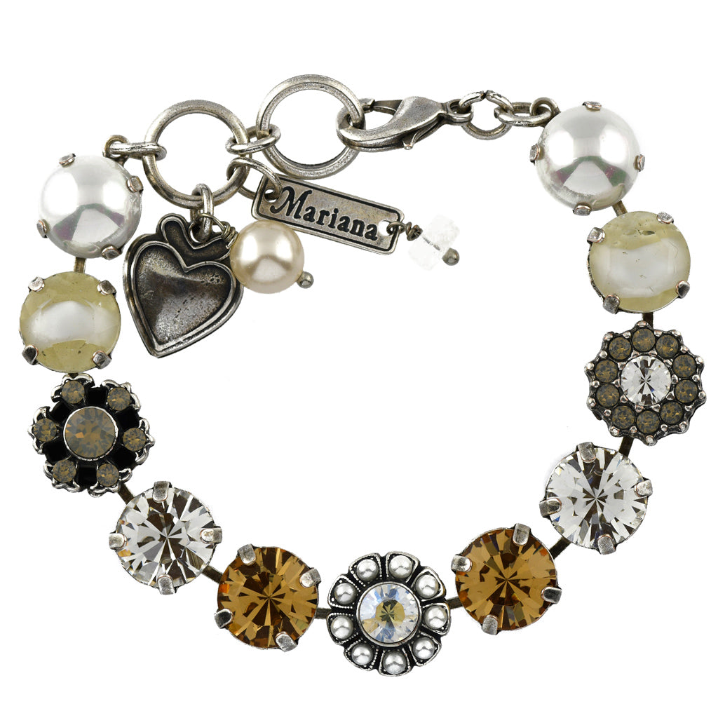 Mariana Jewelry Champagne and Caviar Bracelet, Silver Plated with Swarovski Crystal, Nature Collection MAR-B-4174 3911 SP