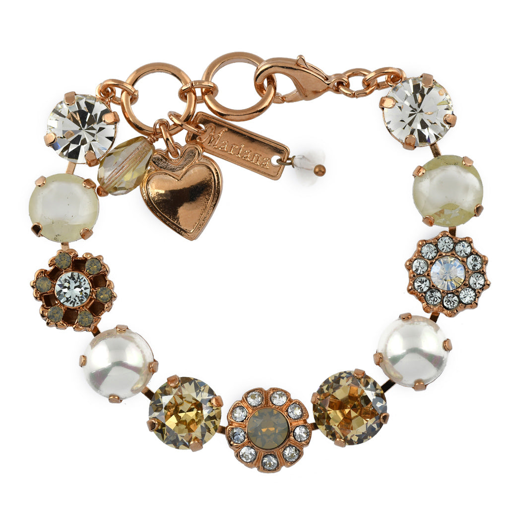 Mariana Jewelry Seashell Bracelet, Rose Gold Plated with Swarovski Crystal, Nature Collection MAR-B-4174 M39361 RG