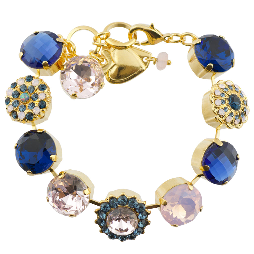 "Mariana ""Blue Morpho"" Gold Plated Crystal Flower Tennis Bracelet with Heart, 8"""