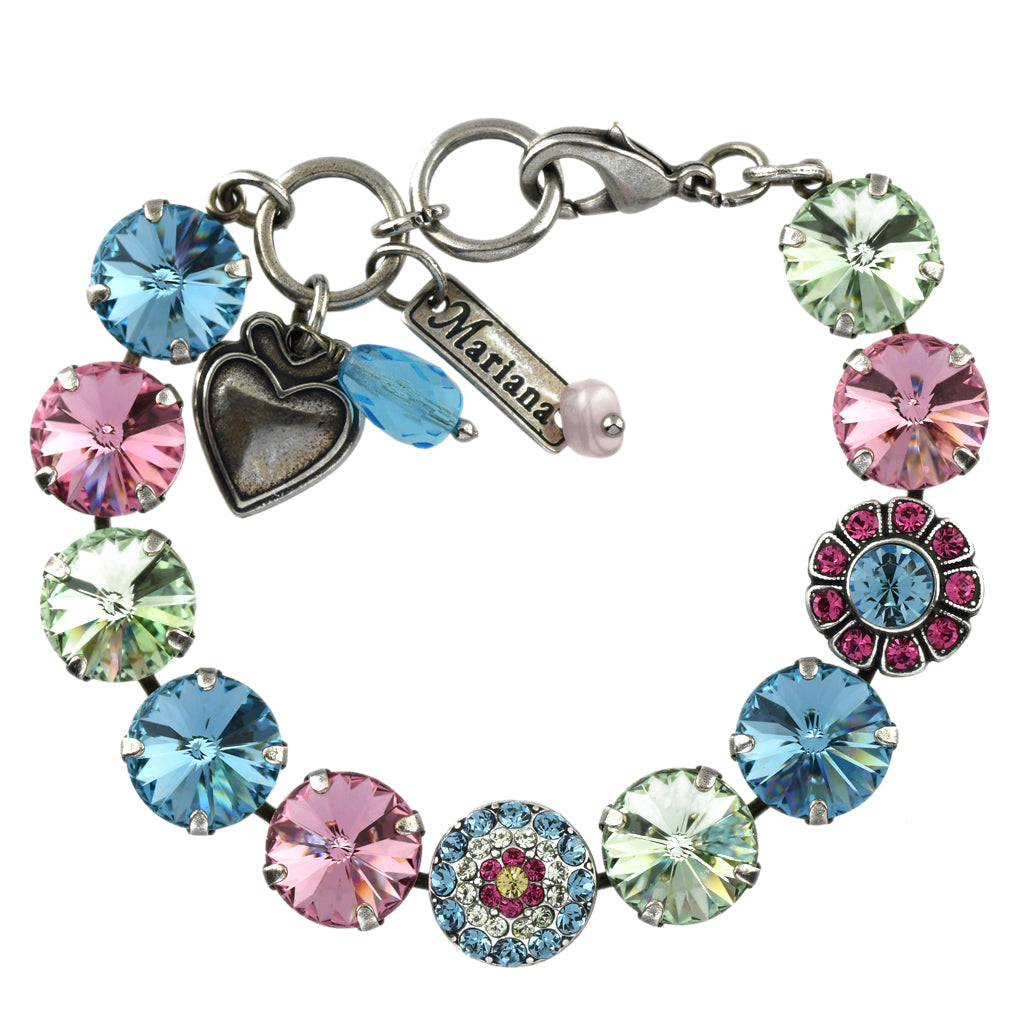 Mariana Jewelry Spring Flowers Bracelet, Silver Plated with Swarovski Crystal, Nature Collection MAR-B-4247_2 2141 SP
