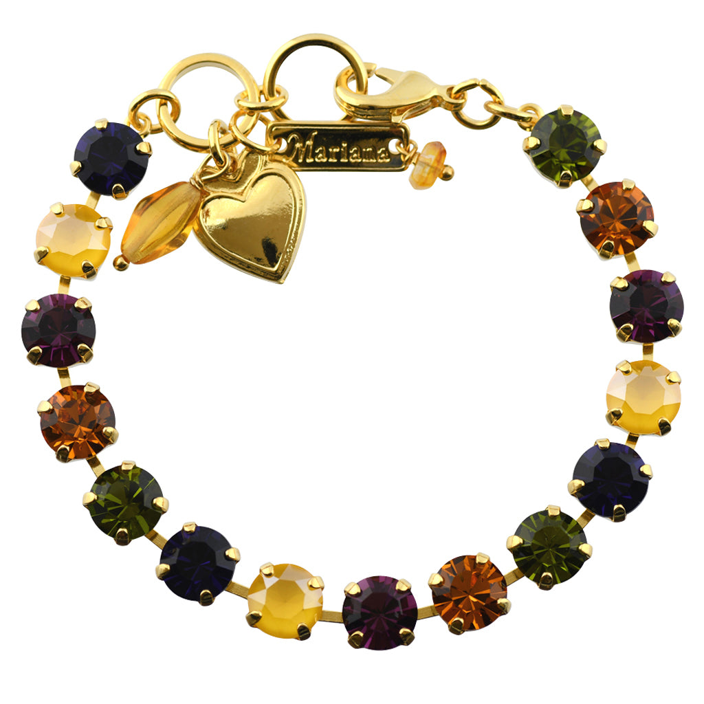 "Mariana Jewelry Holiday Lights Tennis Bracelet, Gold Plated Swarovksi Crystal, 8"" 4252"