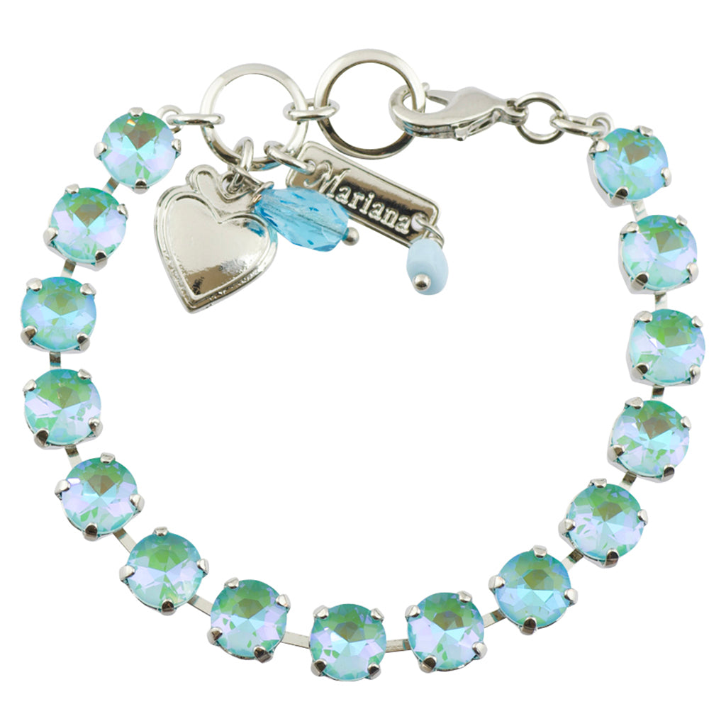 "Mariana ""Sun-Kissed Aqua"" Rhodium Plated Crystal Tennis Bracelet, 8"""