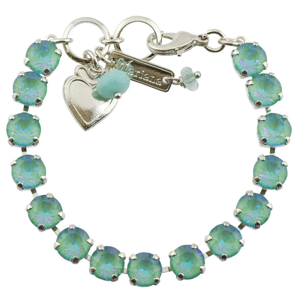 Mariana Sun-Kissed Jade Rhodium Plated Crystal Tennis Bracelet, 8""