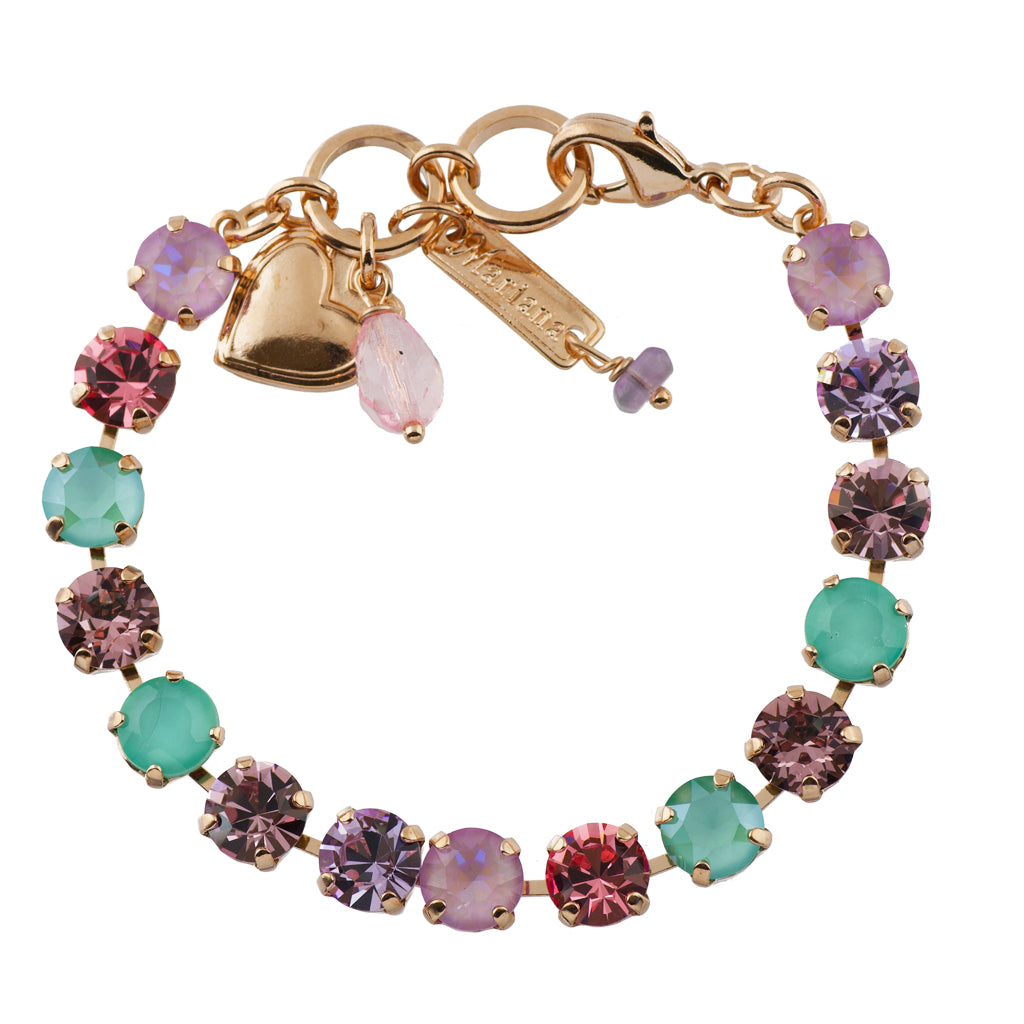"Mariana ""Lavender"" Rose Gold Plated Crystal Tennis Bracelet, 8"""