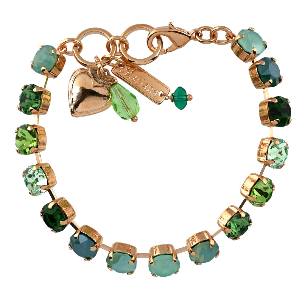 Mariana Jewelry Fern Bracelet, Rose Gold Plated with Swarovski Crystal, Nature Collection MAR-B-4252 2143 RG