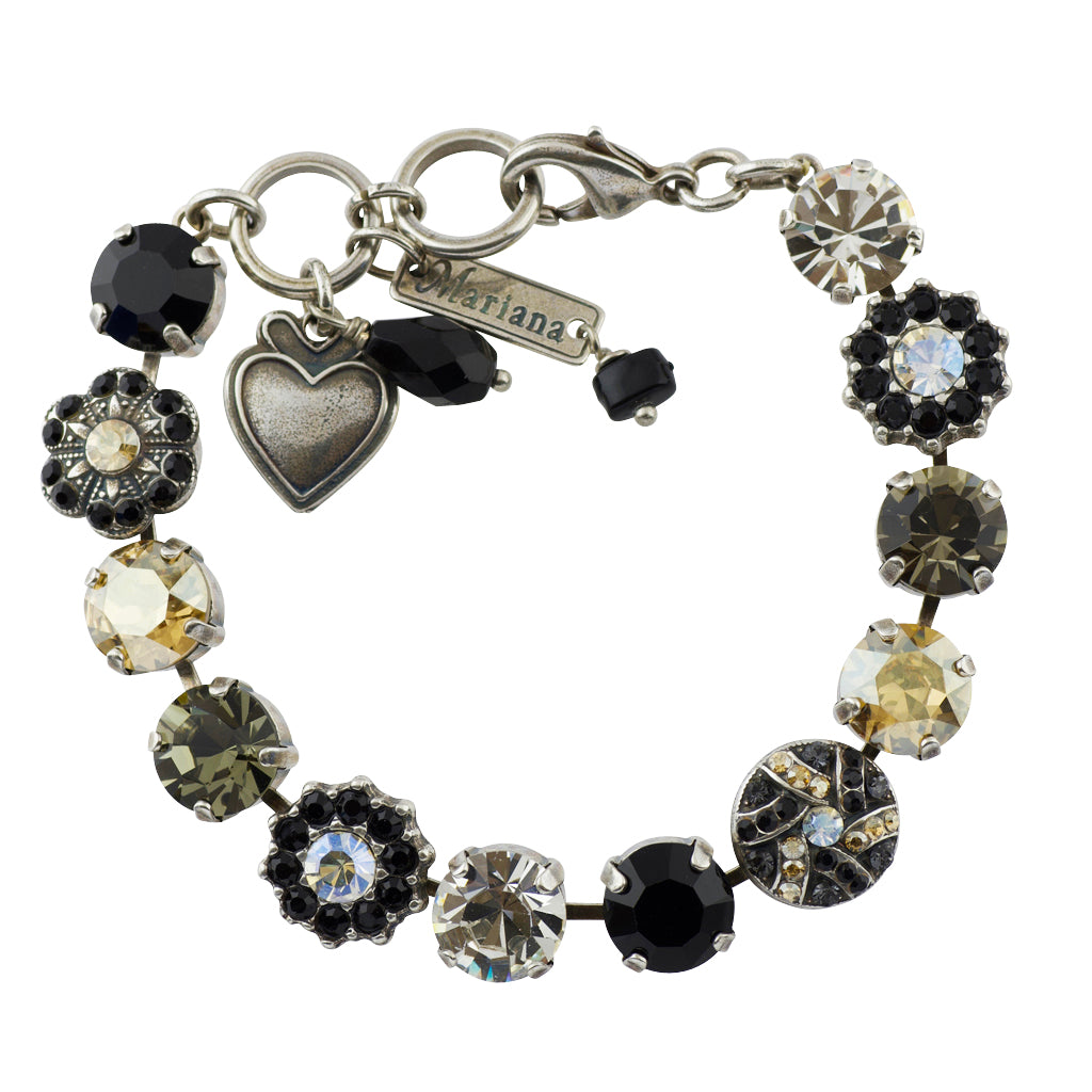 "Mariana ""Black Orchid"" Silver Plated Crystal Tennis Bracelet, 8"""