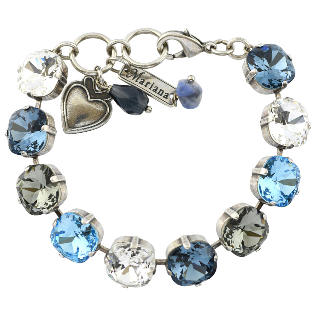 "Mariana Jewelry Frost Rounded Square Tennis Bracelet, Silver Plated with Moonlight Crystal, 8"" 4326/2"