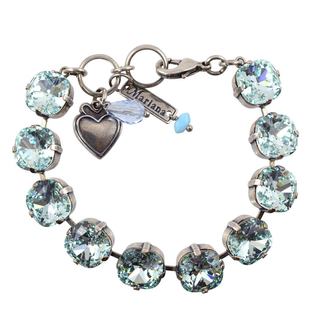 "Mariana Rounded Square Tennis Bracelet, Silver Plated with Azore Blue Crystal, 8"" 4326/2 361361"