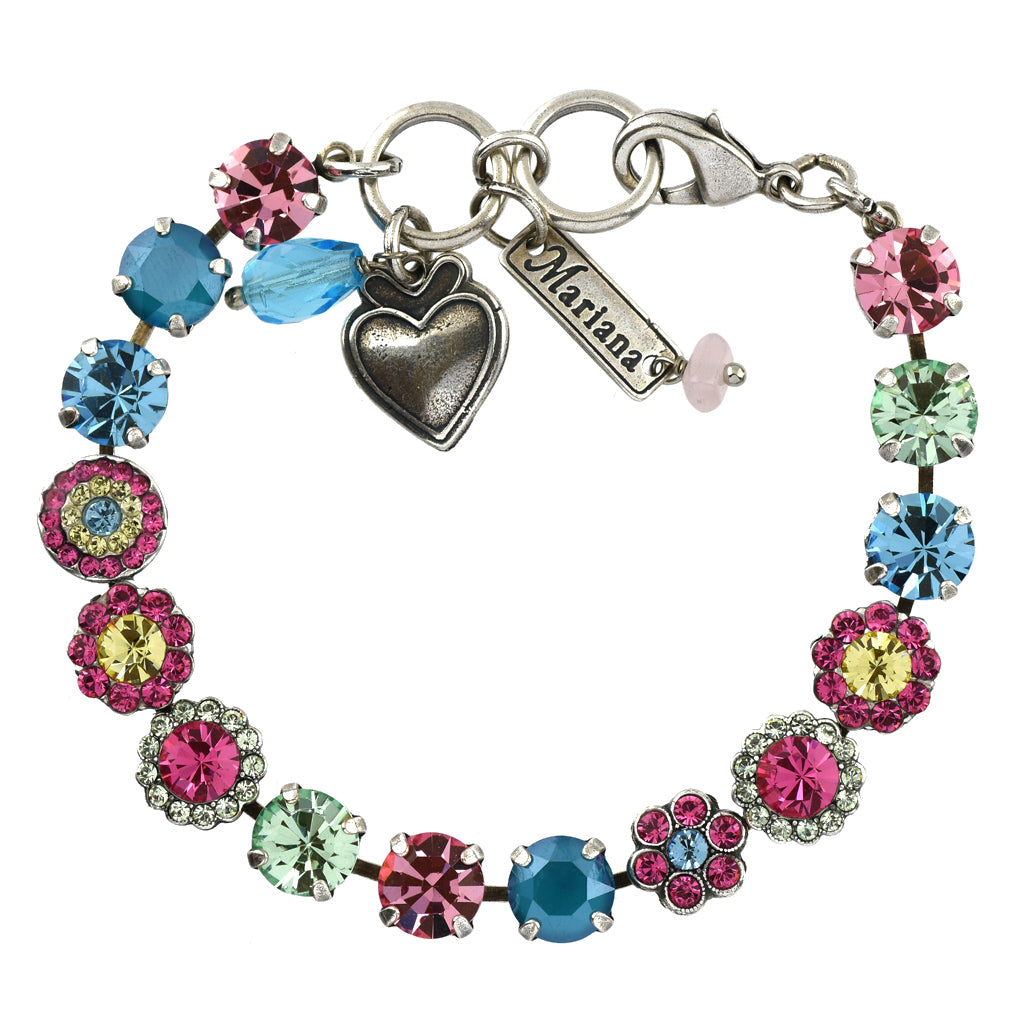 Mariana Jewelry Spring Flowers Bracelet, Silver Plated with Swarovski Crystal, Nature Collection MAR-B-4479 2141 SP