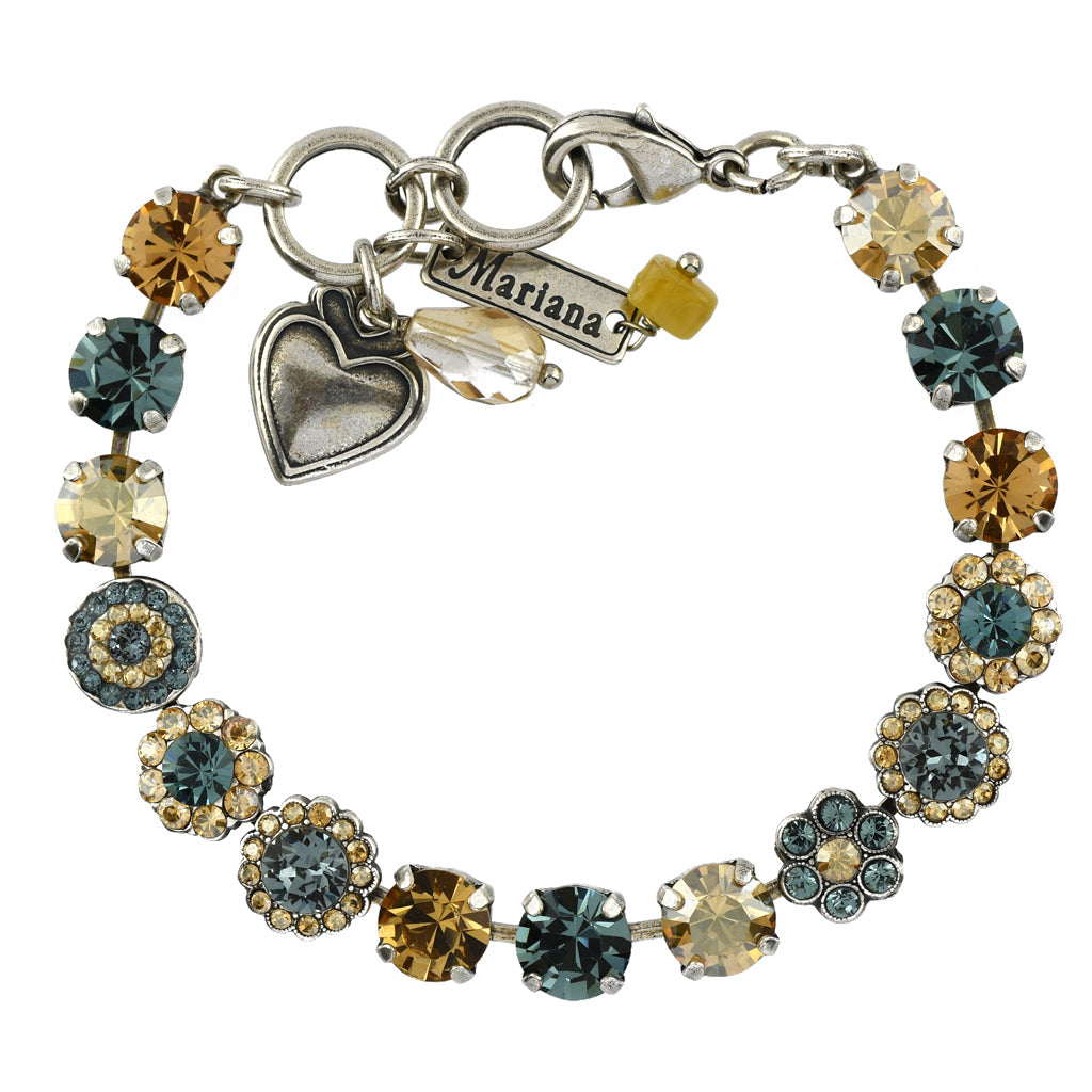 Mariana Jewelry Moon Drops Bracelet, Silver Plated with Swarovski Crystal, Nature Collection MAR-B-4479 216-3 SP