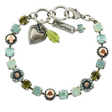 Mariana Jewelry Evergreen Silver Plated Flower Bouquet Crystal Bracelet, 8