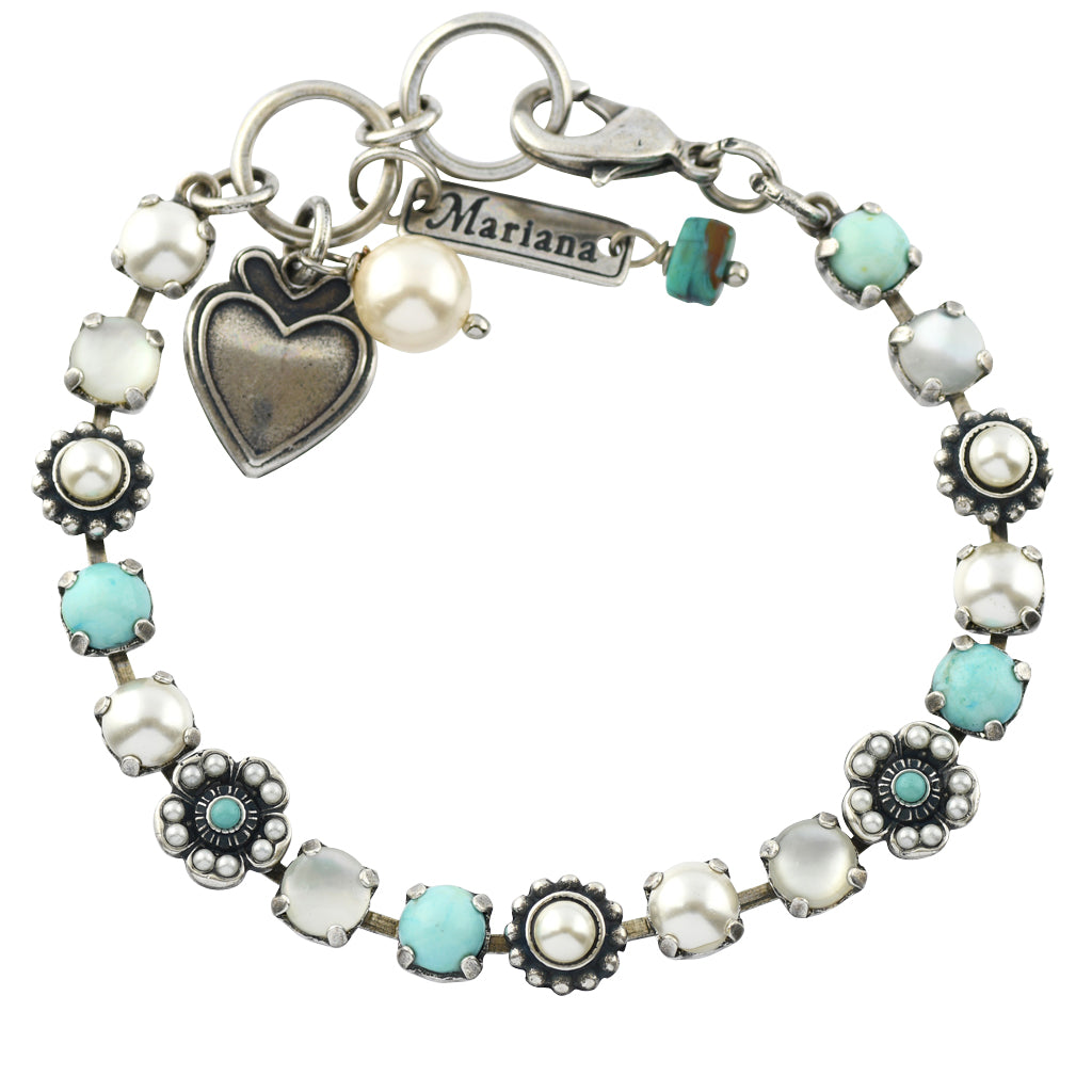 Mariana Jewelry Polar Paradise Silver Plated Flower Bouquet Crystal Bracelet, 8""