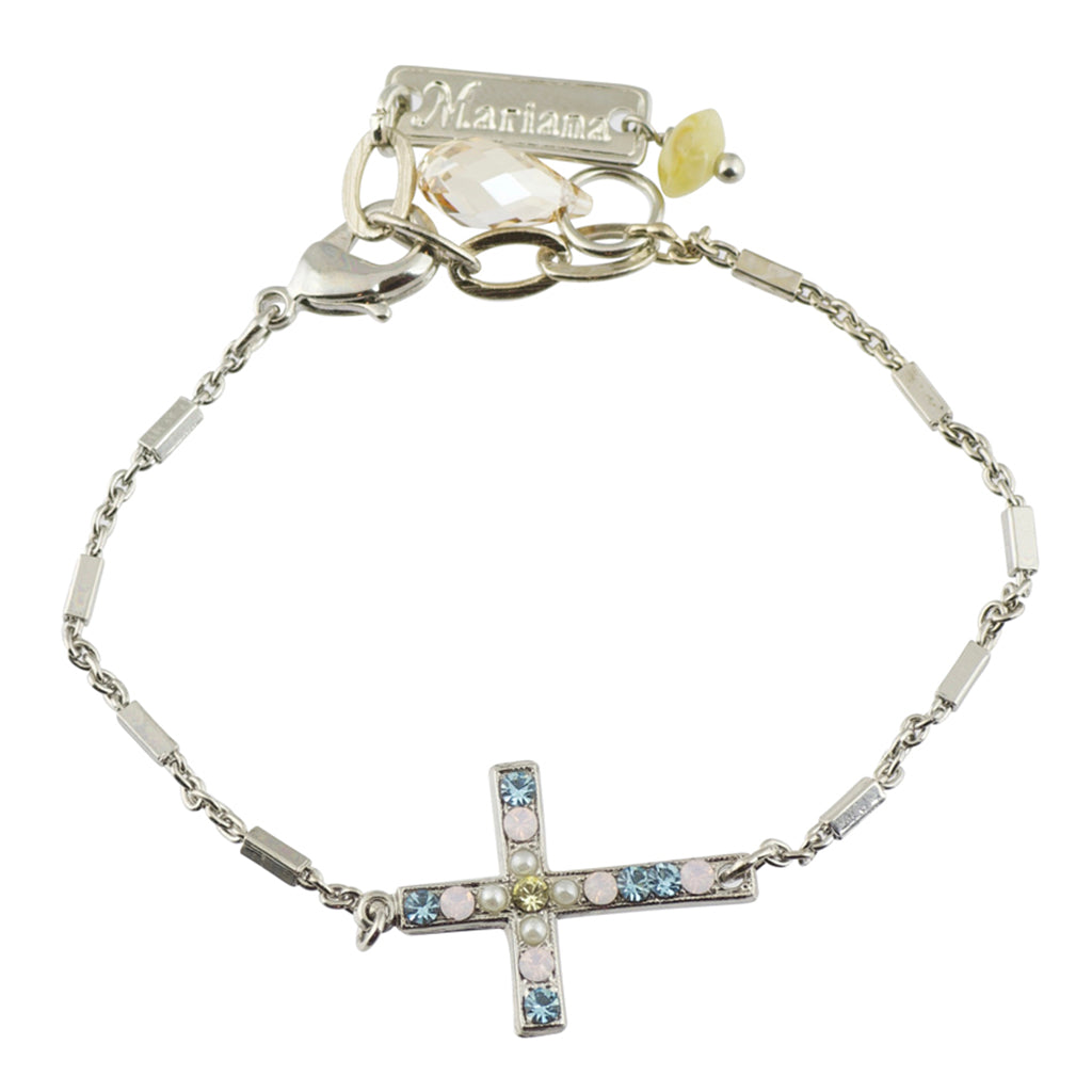 "Mariana ""Coco"" Silver Plated Crystal Sideways Cross Bracelet, 7.5"""