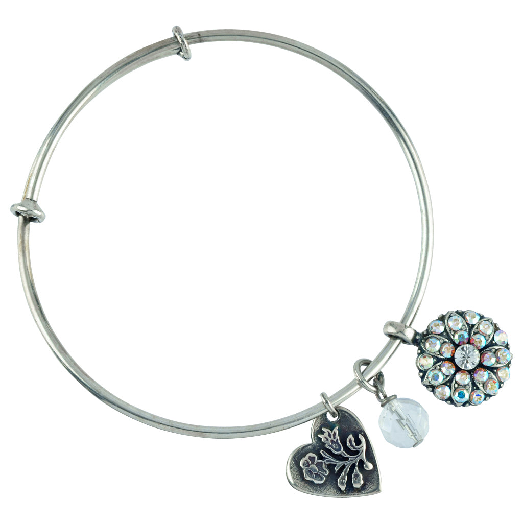 "Mariana Jewelry ""On A Clear Day"" Guardian Angel Charm Bangle Bracelet, Silver Plated 4612M 001"
