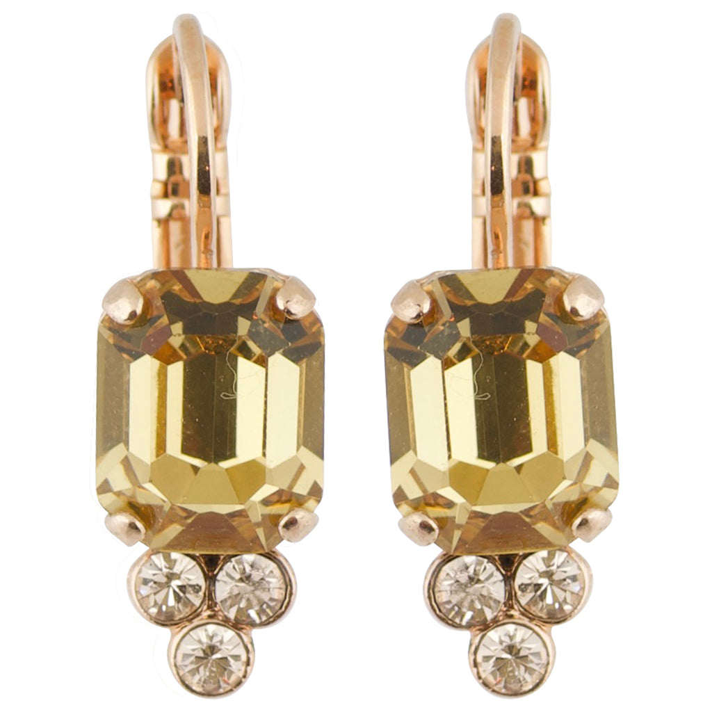 "Mariana ""Meadow Brown"" Rose Gold Plated Crystal Small Rectangle Drop Earrings"