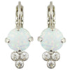 Mariana Rhodium Plated Crystal Round Cluster Drop Earrings