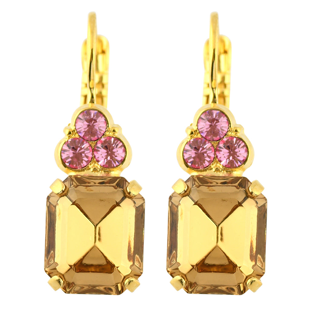 "Mariana Jewelry ""Gingerbread"" Gold Plated Crystal Rectangle Cluster Drop Earrings"