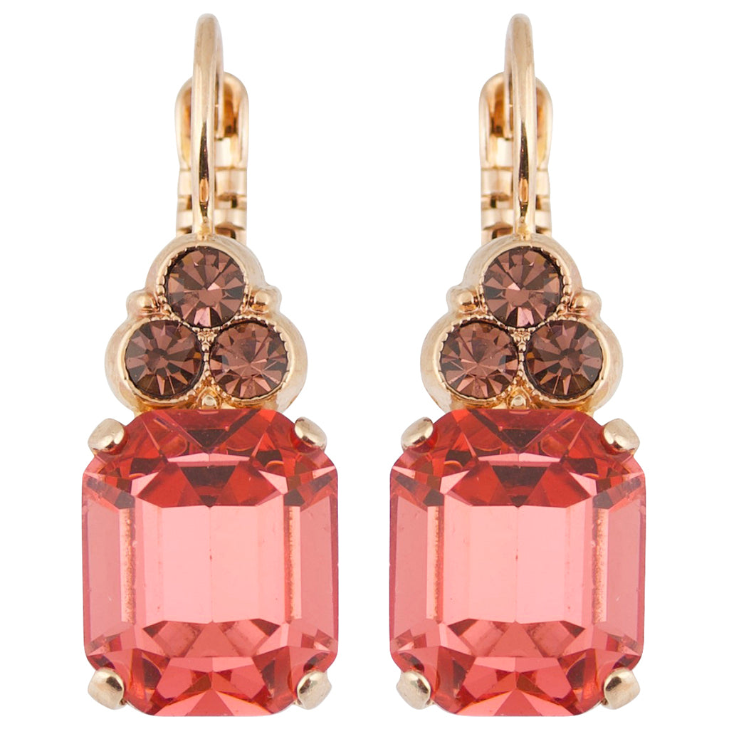"Mariana ""Meadow Brown"" Rose Gold Plated Crystal Rectangle Cluster Drop Earrings"