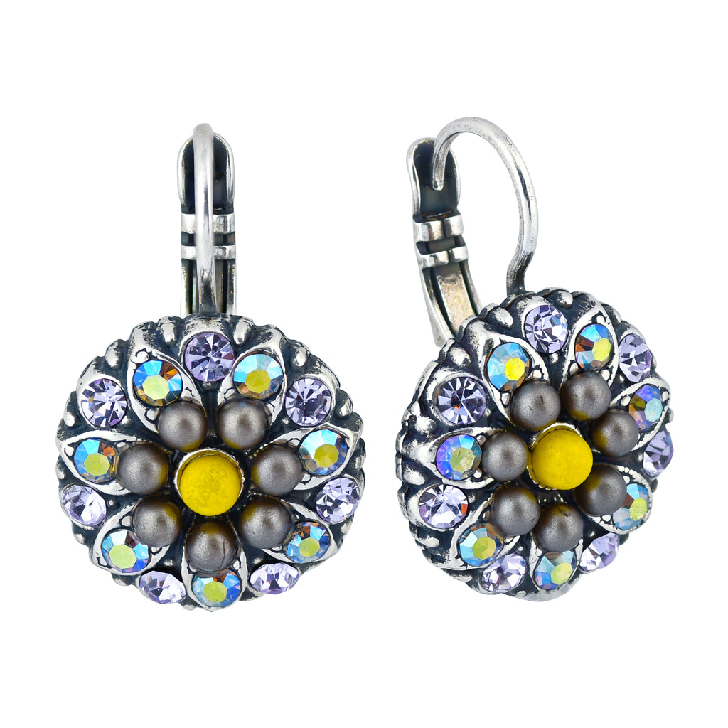 Mariana Jewelry Macaroon Guardian Angel Flower Earrings, Silver Plated 1029 122