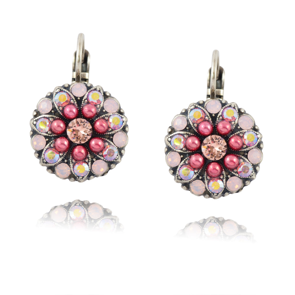 Mariana Antigua Guardian Angel Pink Flower Earrings Silver Plated