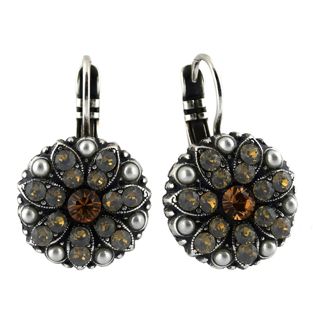 Mariana Jewelry Champagne and Caviar Earrings, Silver Plated with Swarovski Crystal, Nature Collection MAR-E-1029 3911 SP6