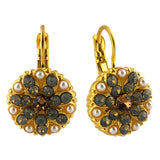 Mariana Jewelry Champagne and Caviar Earrings, Gold Plated with Swarovski Crystal, Nature Collection MAR-E-1029 3911 YG6