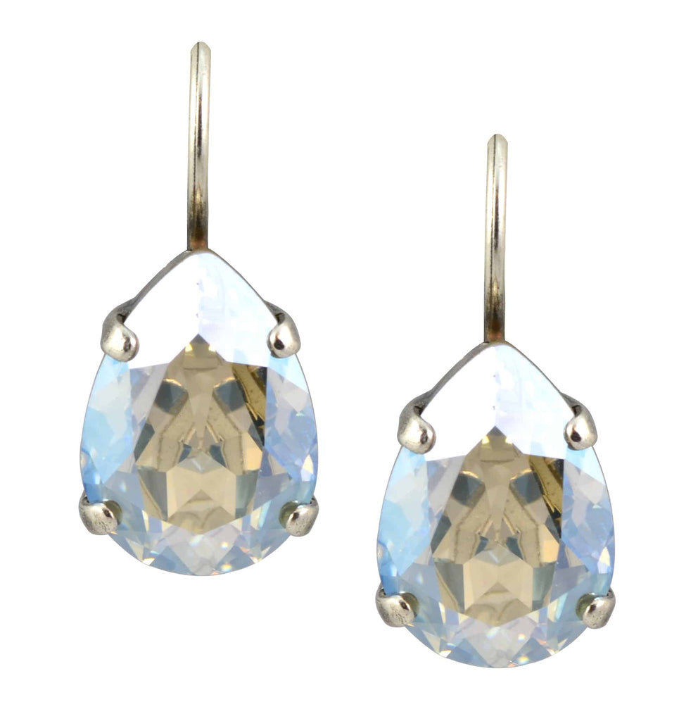 Mariana Jewelry Silver Plated Raindrop Swarovski Crystal Drop Earrings in Clear Crystal Moonlight