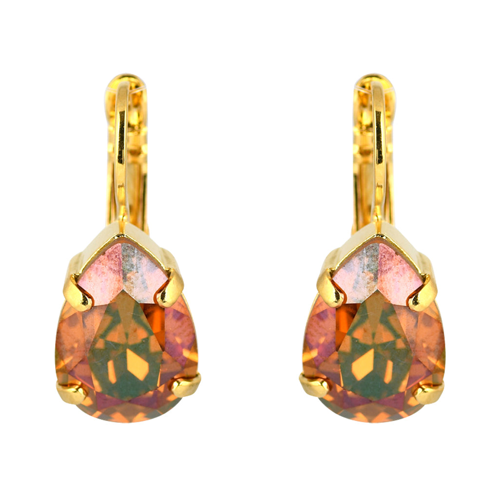 Mariana Gold Plated Raindrop Crystal Drop Earrings in Dark Red