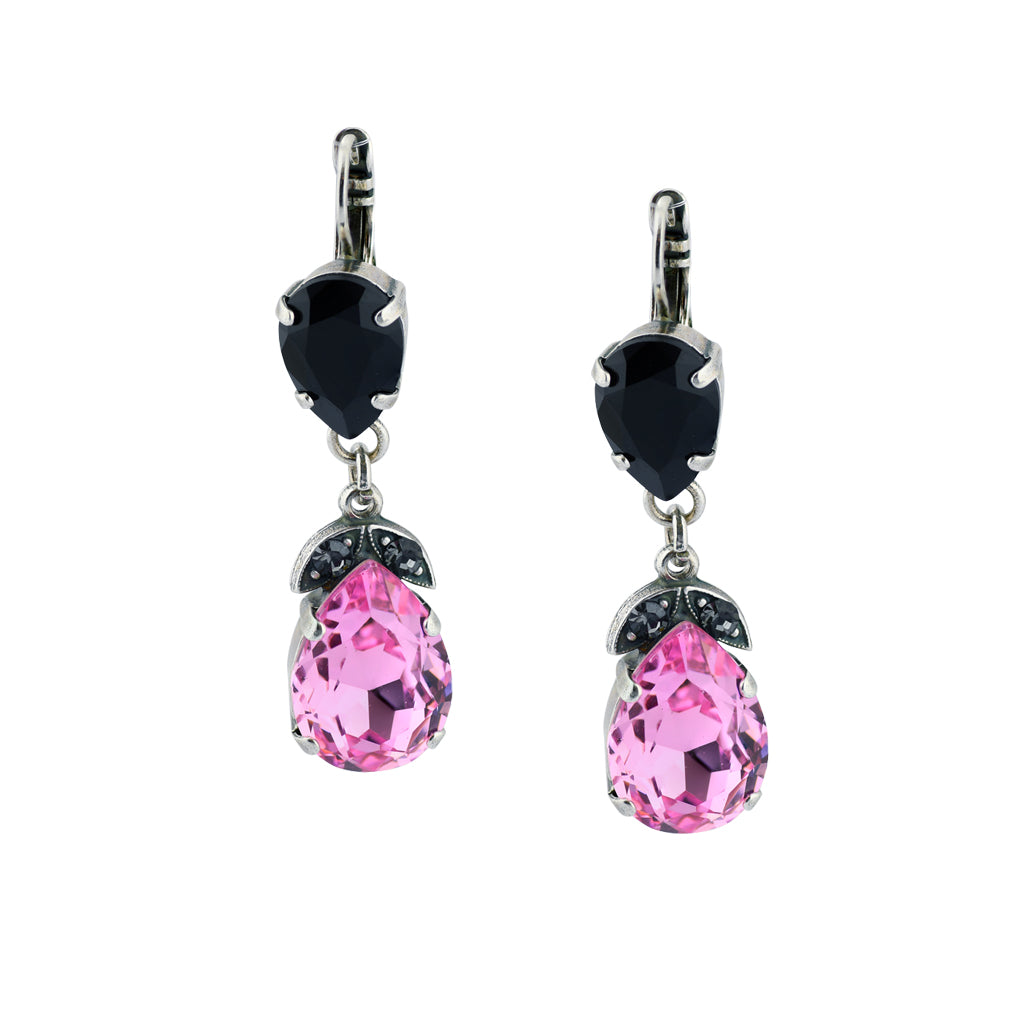 "Mariana ""Peppermint"" Teardrop Dangle Earrings, Silver Plated with Crystal 1032/4 143"