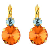 Mariana Jewelry Tinsel Round Drop Earrings, Gold Plated with Fawn Crystal 1037R