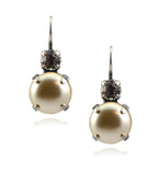 Mariana Jewelry Silver Plated Petite Round Swarovski Crystal Drop Earrings in Pearl and Crystal