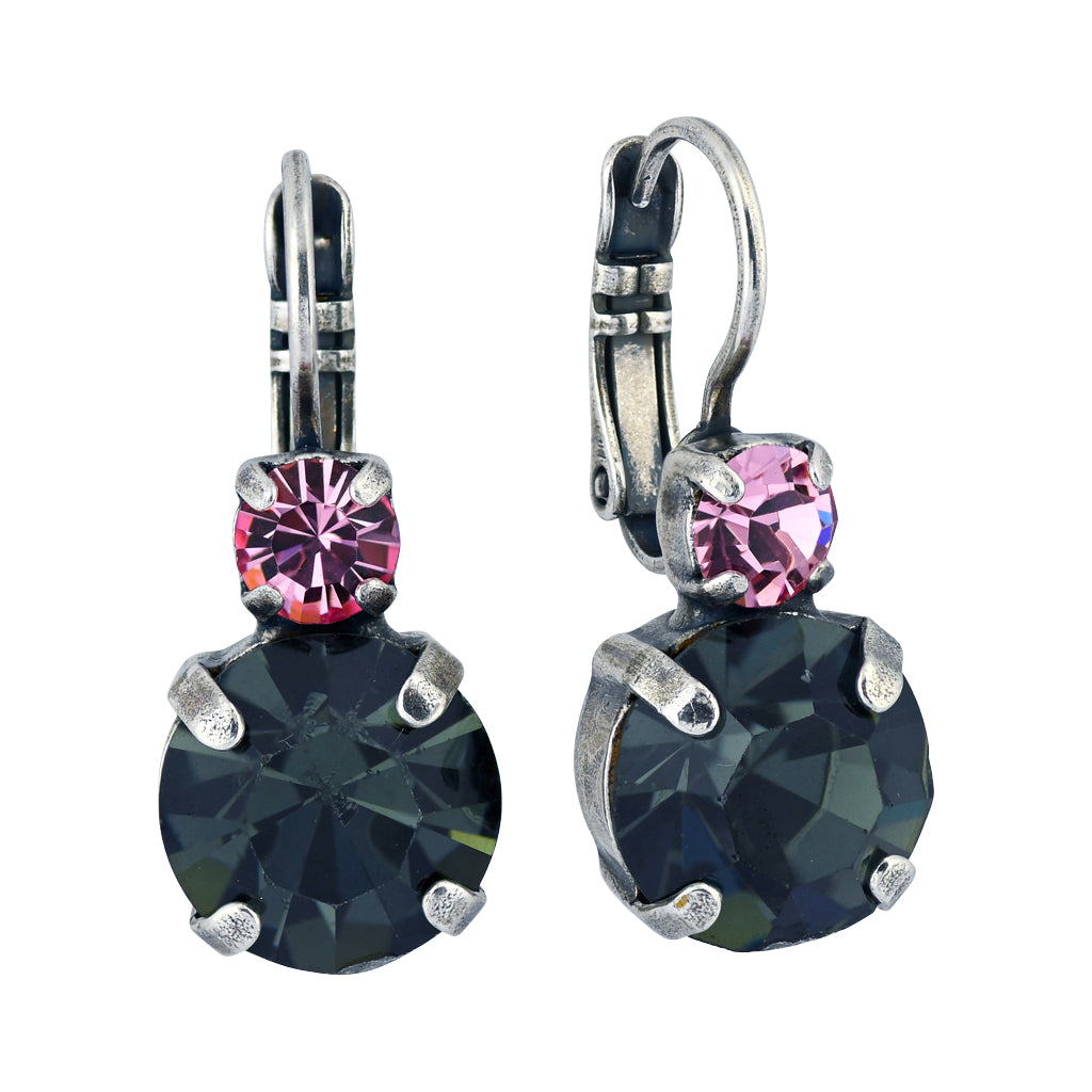 "Mariana Jewelry ""Peppermint"" Silver Plated Crystal Petite Round Drop Earrings"