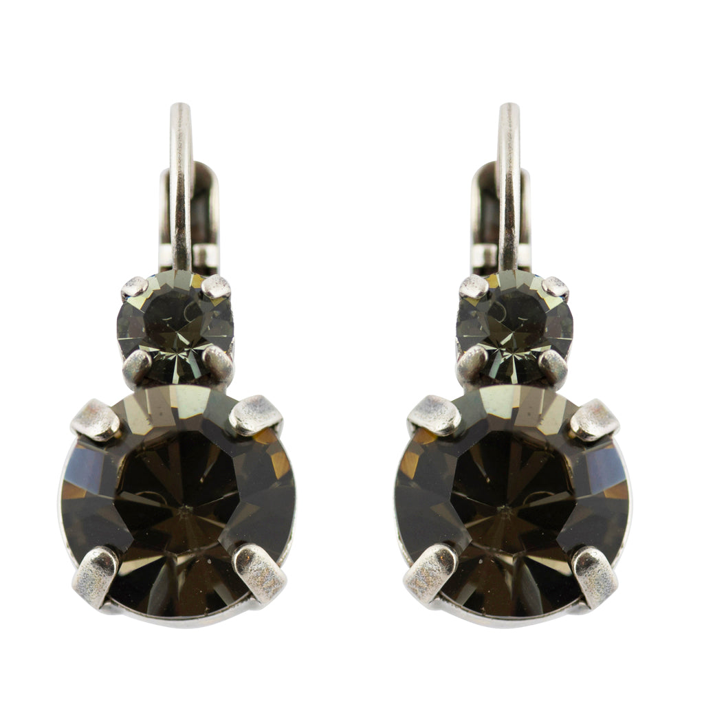 "Mariana ""Black Orchid"" Round Drop Earrings, Silver Plated 1037"