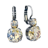 Mariana Jewelry Silver Plated Petite Round Crystal Drop Earrings