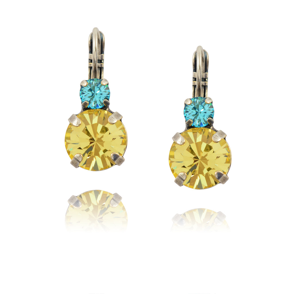 Mariana St Barths Drop Earrings, Silver Plated with Yellow Crystal 1037 263213