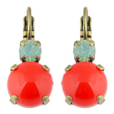 Mariana Antique Gold Plated Petite Round Crystal Drop Earrings