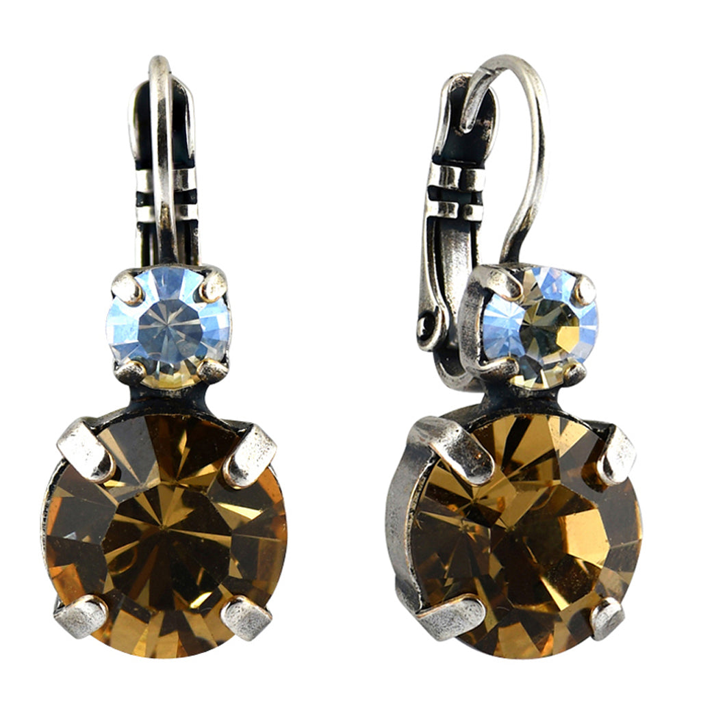 Mariana Jewelry Champagne and Caviar Earrings, Silver Plated with Swarovski Crystal, Nature Collection MAR-E-1037 3911 SP6