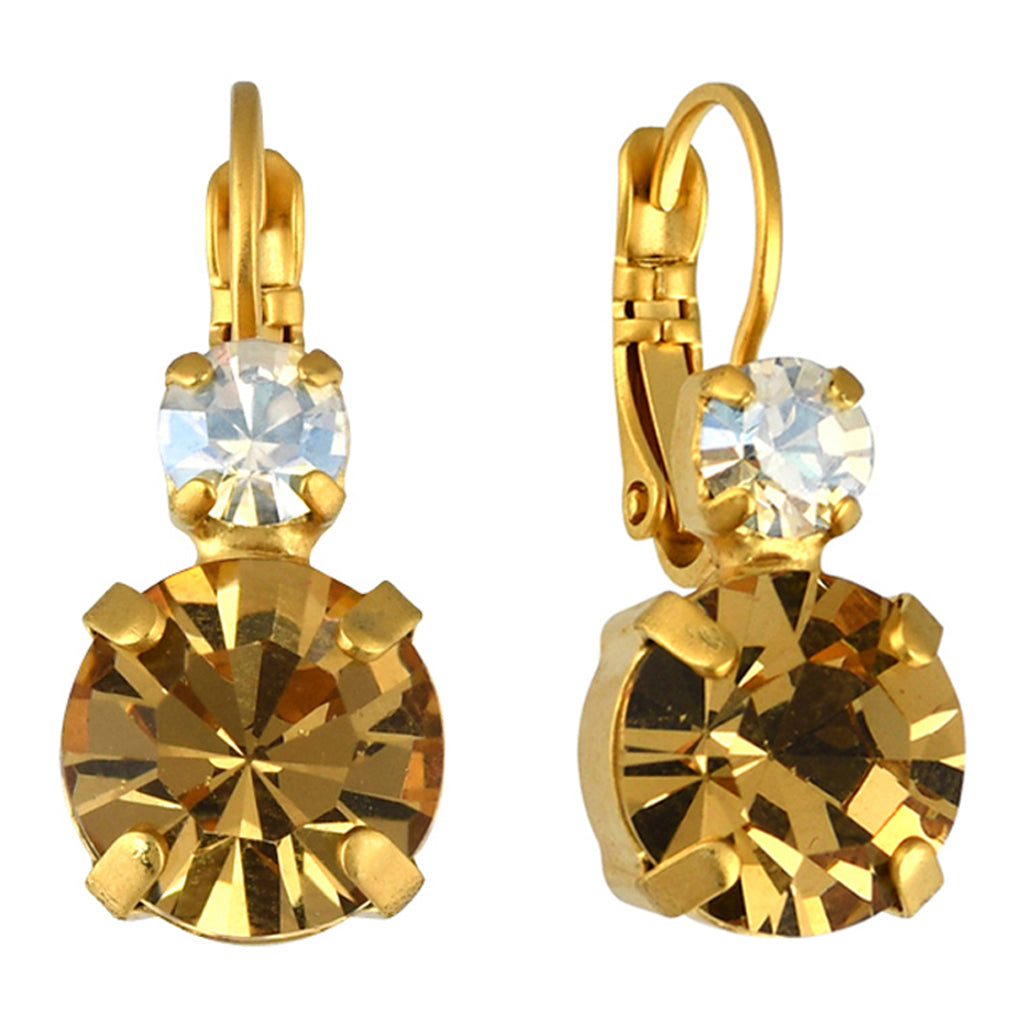 e178aa45979d0 Mariana Jewelry Champagne and Caviar Earrings, Gold Plated with Swarovski  Crystal, Nature Collection 1037 3911 YG6