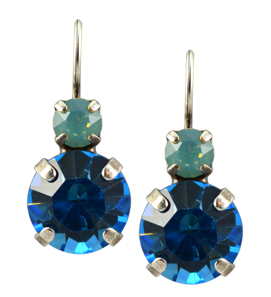 Mariana Jewelry Silver Plated Petite Round Swarovski Crystal Drop Earrings in White Opaque Blue Sky and Aqua