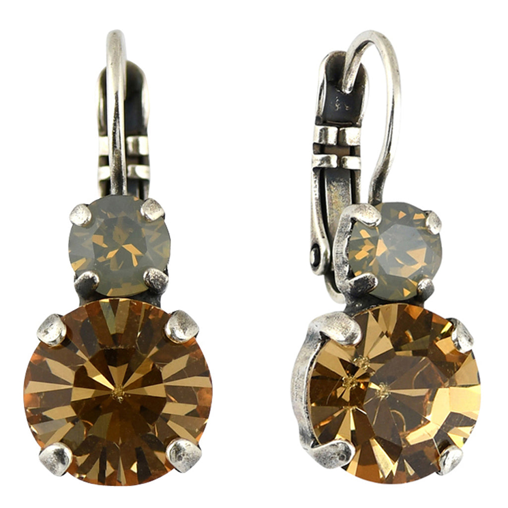 Mariana Jewelry Champagne and Caviar Earrings, Silver Plated with Swarovski Crystal, Nature Collection MAR-E-1062 3911 SP6