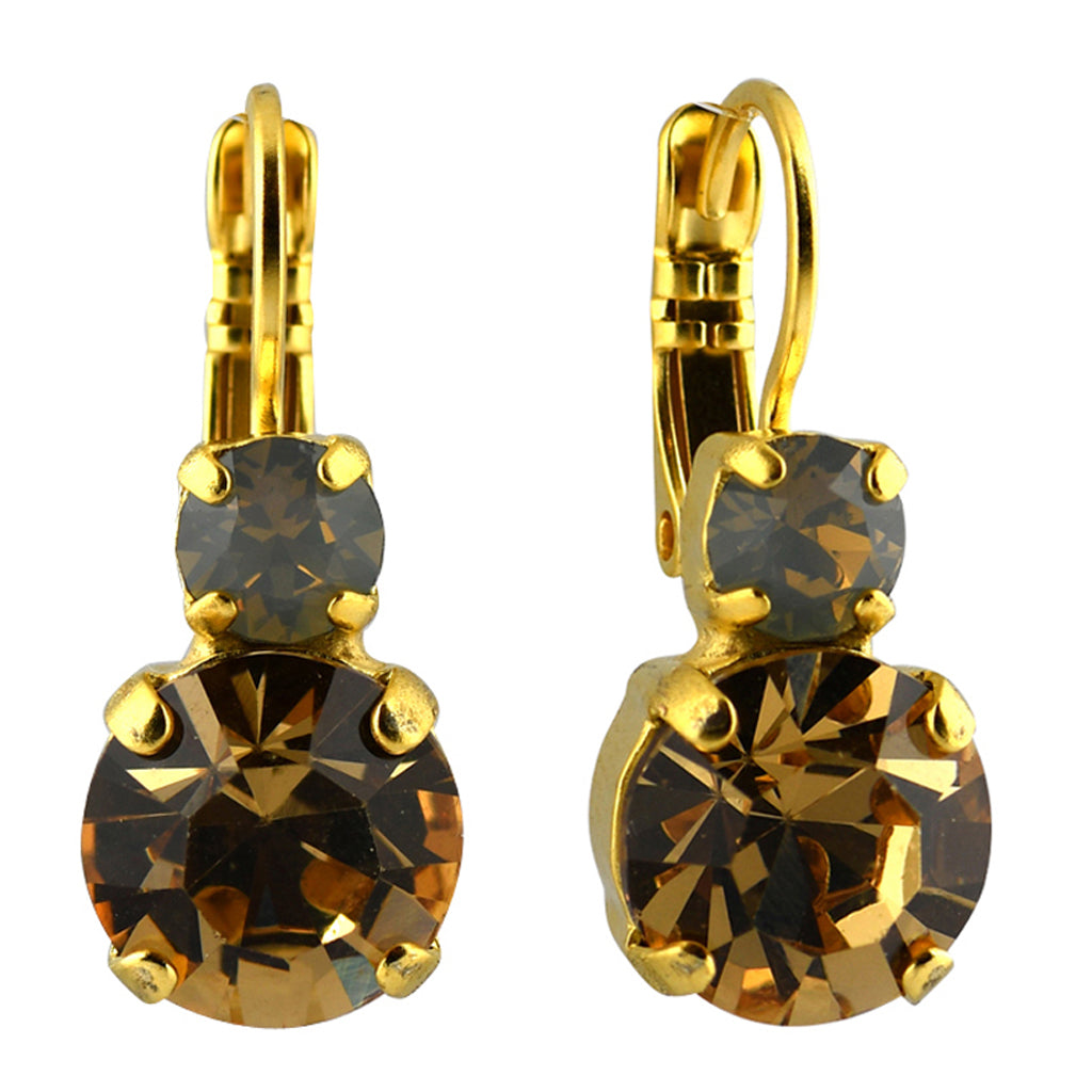 Mariana Jewelry Champagne and Caviar Earrings, Gold Plated with Swarovski Crystal, Nature Collection MAR-E-1062 3911 YG6