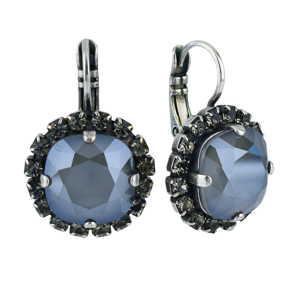 "Mariana Jewelry ""French Silk"" Silver Plated Crystal Round Drop Earrings"